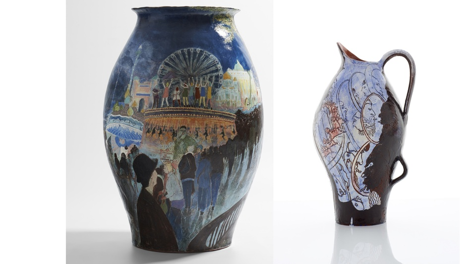 Claudia Clare: Nightwalker (left) and Jug: Postcard from the Caliphate (right)